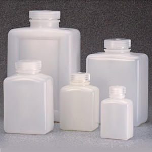 Nalgene® Rectangular Bottles, Bulk Pack, HDPE, 8 oz with Caps, case/250