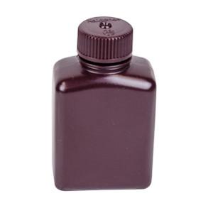 Nalgene® Amber Rectangular Bottles, Bulk Pack, HDPE, 4 oz with Caps, case/500