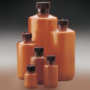 Nalgene® Amber Bottles, 16 oz (500mL) HDPE, Translucent 28-415, case/125