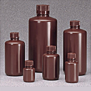 Nalgene® Amber Boston Round Bottles, 16 oz (500mL) HDPE, 28-415, case/125