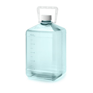 Nalgene® 3405-16 Polycarbonate Square Biotainer Bottles, Sterile, 5 Liter Carboy with PE Handle, case/6
