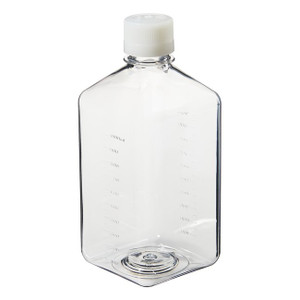Nalgene® 342040-1000 1000mL PET Square Media Bottles in Shrink Wrap, Sterile, case/24