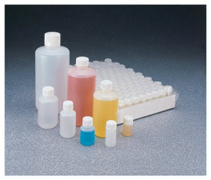 Nalgene® 342089-0016 16 oz (500mL) HDPE Sterile Bottles, 28-415 Caps, case/120