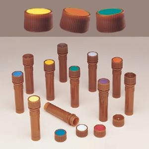 Nalgene® 362825-1111 11mm Amber Caps for Micro Vials, White Spot, case/1000