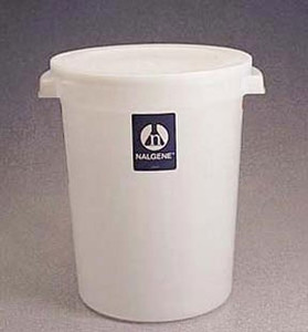 Nalgene® 7142-0015 Lab Storage Container, Round, w/Cover, HDPE, 15L, case/6