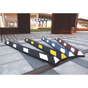 "Park-It Garage Parking Stop, 72"" Rubber with Stripe"