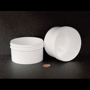 Bulk 6 oz 89mm White PP Jars, 200mL (no caps), case/390
