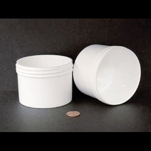 Bulk 8 oz 89mm White PP Jars, 250mL (no caps), case/300