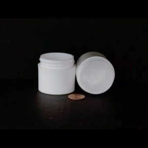 Bulk 1 oz 43mm White PP Thick Wall Jars, 25mL (no caps), case/784