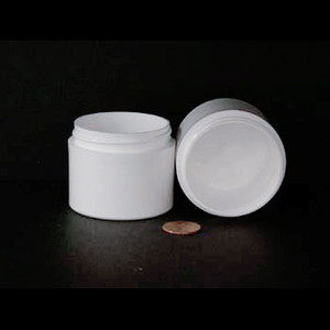 Bulk 2 oz 53mm White PP Thick Wall Jars, 80mL (no caps), case/504