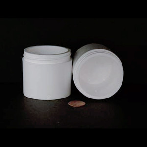 Bulk 3 oz 58mm White PP Thick Wall Jars, 100mL (no caps), case/396