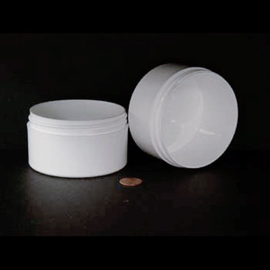 Bulk 6 oz 89mm White PP Thick Wall Jars, 200mL (no caps), case/162