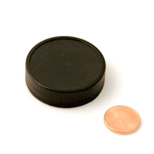 43mm (43-400) Black PP Heat Seal Lined Ribbed Cap, Each