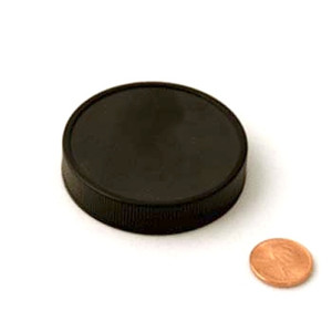 58mm (58-400) Black PP Heat Seal Lined Ribbed Cap, Each