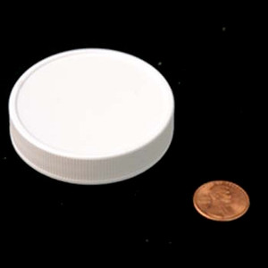58mm (58-400) White PP Heat Seal Lined Ribbed Cap, Each
