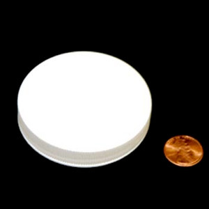 63mm (63-400) White PP Pressure Sensitive Lined Ribbed Cap, Each