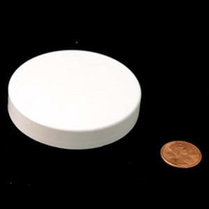 63mm (63-400) White PP Pressure Sensitive Lined Smooth Cap, Each