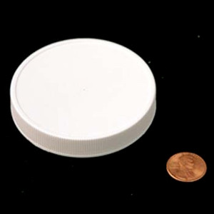 70mm (70-400) White PP Heat Seal Lined Ribbed Cap, Each