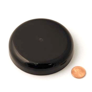 89mm (89-400) Black PP Pressure Sensitive Lined Domed Cap, Each