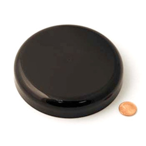 120mm (120-400) Black PP Pressure Sensitive Lined Domed Cap, Each