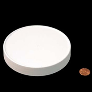 120mm (120-400) White PP Pressure Sensitive Lined Ribbed Cap, Each