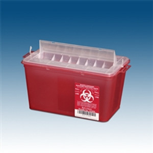 Sharps Containers, 4 qt. Red, Horizontal Entry, case/25