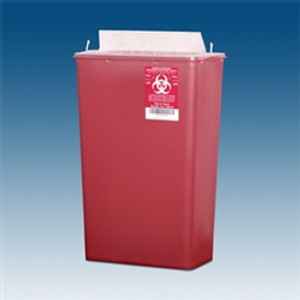 Sharps Container, 14 qt. Red, Horizontal Entry, case/10