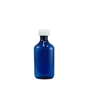 Oval Pharmacy Bottles, Blue, Graduated, Child-Resistant, 6 oz, case/100