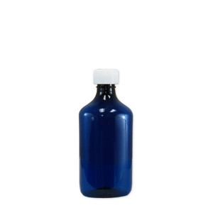 Oval Pharmacy Bottles, Blue, Graduated, Child-Resistant, 8 oz, case/100