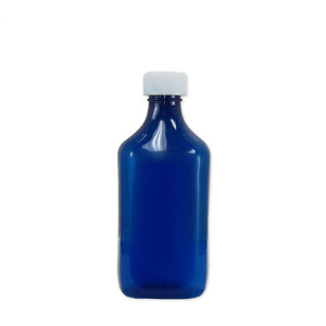 Oval Pharmacy Bottle, Blue, Graduated, Child-Resistant, 12 oz, case/100