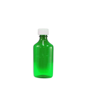 Oval Pharmacy Bottles, Green, Graduated, Child-Resistant, 6 oz, case/100