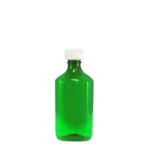 Oval Pharmacy Bottles, Green, Graduated, Child-Resistant, 8 oz, case/100