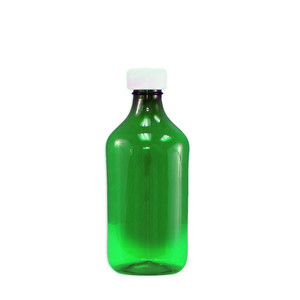 Oval Pharmacy Bottle, Green, Graduated, Child-Resistant, 12 oz, case/100
