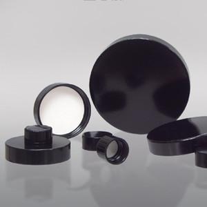 13-425 Black Ribbed Phenolic Cap with Pulp/Vinyl Liner, Each