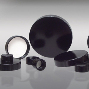 45-400 Black Phenolic Cap with Pulp/Vinyl Liner, Each