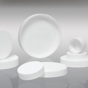 120-400 White Ribbed PP Cap with SturdeeSeal PE Foam Liner, Each