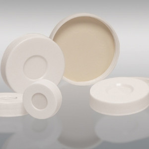 33-400 White PP Hole Cap, Bonded, PTFE/Silicone Septa, Each