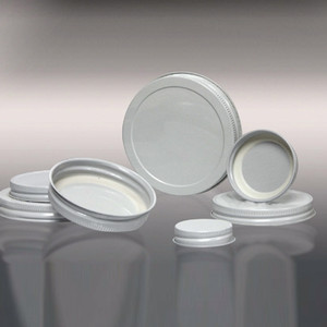 53-400 White Metal Cap, Plastisol Lined, Each