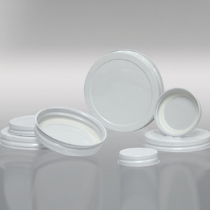 63-400 White Metal Cap, Plastisol Lined, Each
