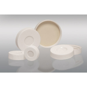 28-400 White PP Hole Cap with Bonded PTFE/Silicone Septa (Packed in bags of 12), case/120