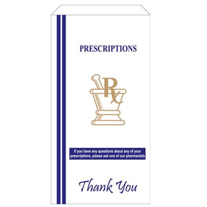 "Pharmacy Bags for Prescription Medication, 5""x3.25""x9.75"", case/1000"