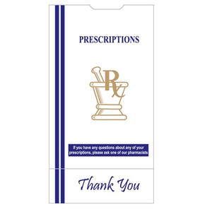 "Pharmacy Bags, 6""x3.6""x11"" for Prescription Medication, case/1000"