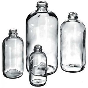 Boston Round Bottles, 2 oz Clear Glass, 28-400 neck finish, No Caps, case/24