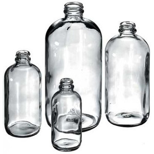 Boston Round Bottles, 1 Liter (32 oz) Glass, 33-400 neck finish, No Caps, case/12