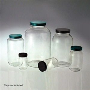 Wide Mouth Glass Bottles, 2 Liter (64 oz) Clear, No Caps, case/6