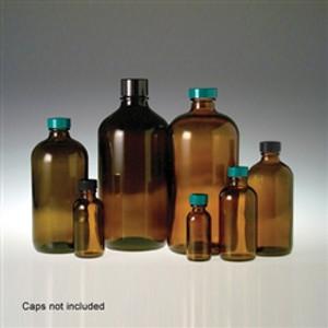 Amber Glass Boston Round Bottles, 8 oz, 24-400 neck finish, No Caps, case/24