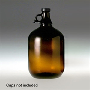 Amber Glass Jugs, 4 Liter (128 oz), 38-400 neck finish, No Caps, case/6