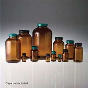 Amber Wide Mouth Glass Bottles, 500mL, 53-400 neck finish, No Caps, case/12