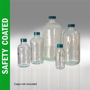 Safety Coated Glass Bottles, 8 oz, Boston Round Bottles, 24-400, No Caps, case/24