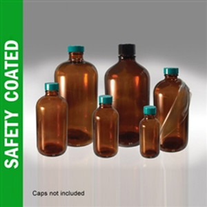 Safety Coated Amber Boston Round Bottles, 8 oz, No Caps, case/24